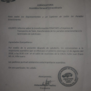 Convocatoria Asamblea General  de FENATAES
